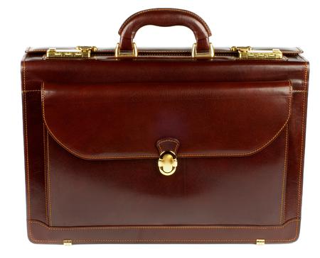La cartera de Brown de cuero con bolsillo y detalles de oro aislado en el fondo blanco Foto de archivo - 33487106