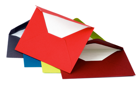 colored paper: Arrangement of Colored Paper Envelopes isolated on white background