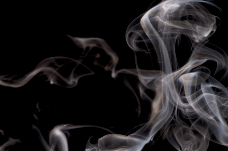 particulates: Abstract White Smoke Figures on Black background Stock Photo