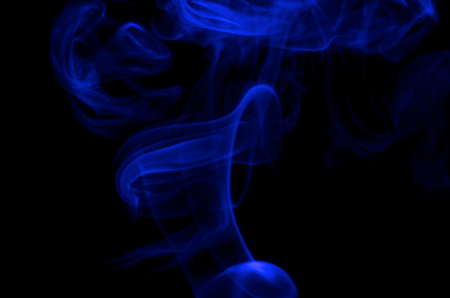 blue smoke: Abstract Blue Smoke Figures on Black background