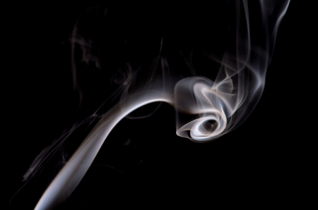 particulates: Fancy Abstract White Smoke Figure on Black background Stock Photo