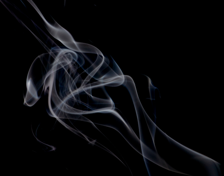 particulates: Abstract Fancy White and Blue Smoke Figures on Black background