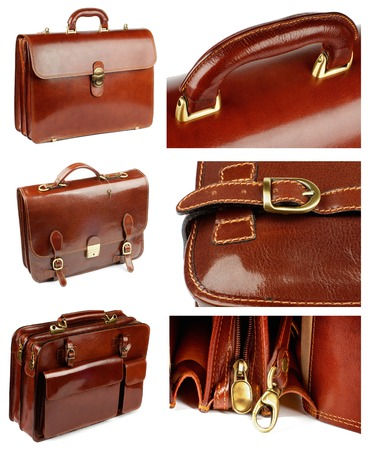 attache: Collection of Ginger Shiny Leather Briefcases with Pockets, Bronze Details and Fasteners isolated on white background