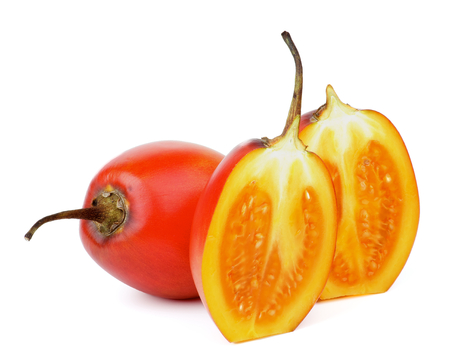 tamarillo: Exotic Tropical Fruits Two Halves and Full Body Tamarillo isolated on white background
