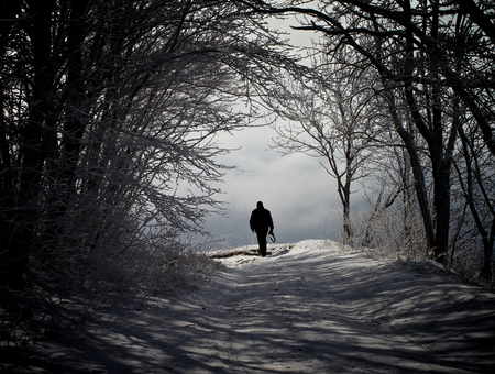 Winter Road through Snowy Trees and Walking Alone Man against Cloudy Sky Outdoors