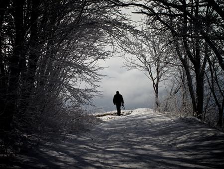 Camino del invierno a través de los árboles Nevado y recorrer del hombre solo contra el cielo nublado Aire libre