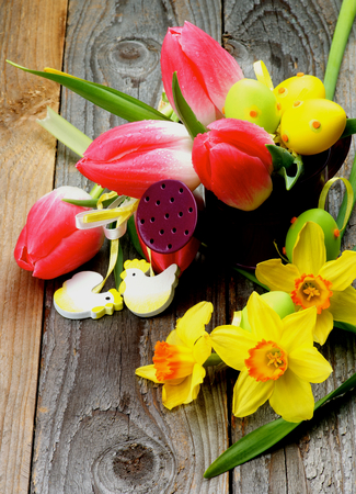 goody: Arrangement of Bunch with Yellow Daffodils and Magenta Tulips in Watering Can with Colored Easter Eggs and Decorative Chickens closeup on Wooden background Stock Photo