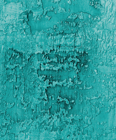 damaged cement: Turquoise and Grey Damaged Obsolete Cement Wall Background closeup Stock Photo