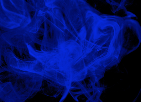 Abstract Big Blue Smoke Figures on Black background