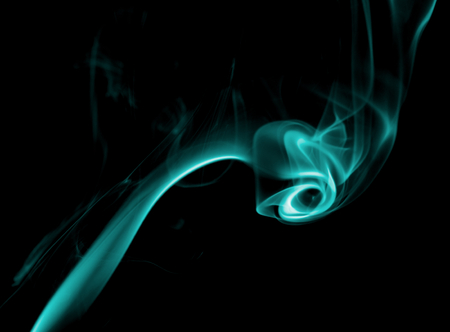 particulates: Fancy Abstract Turquoise Smoke Figure on Black background