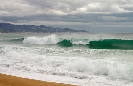 seacoast: Seacoast with Sand and Powerful Waves on Mediterranean Shore, Spain