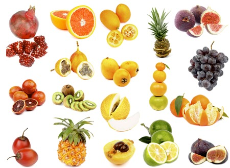 Tropical Fruits Collection with Pomegranate, Blood Oranges, Tamarillo Fruits, Grenadillas, Kiwi, Pineapple, Oranges, Loquat Medlar Fruit, Cantaloupe Melon, Lemon, Lime, Figs, Red Grape and Tangerines isolated on white background photo
