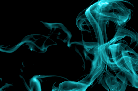 particulates: Abstract Turquoise Smoke Figures closeup on Black  Stock Photo