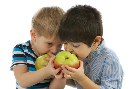 Two Little Boys Sharing an Apples to Each other and Eating photo