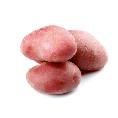 fingerling: Three Big Raw Red Fingerling Potatoes isolated on white background