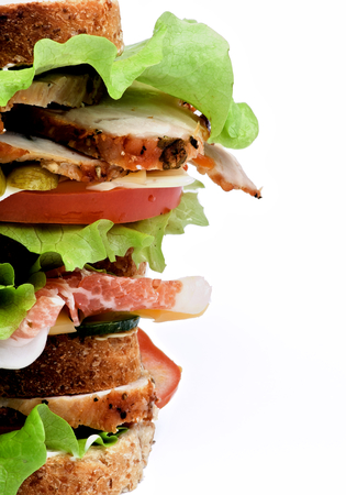 marinated gherkins: Frame of Tasty Turkey Meat Sandwich with Cheese, Tomato, Bacon, Marinated  Gherkins and Lettuce on Whole Wheat Bread isolated on white background