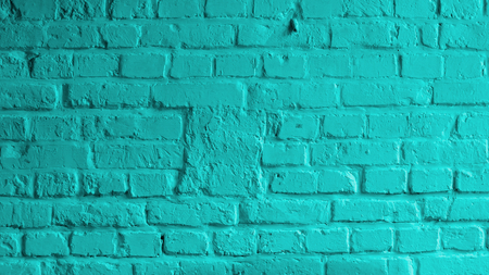 Background of Brick Wall Painted with Mortar Turquoise Color closeup