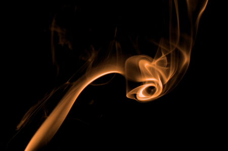 particulates: Fancy Abstract Orange Smoke Figure on Black background