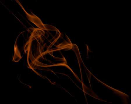 Abstract Fancy Orange Smoke Figures on Black background Reklamní fotografie