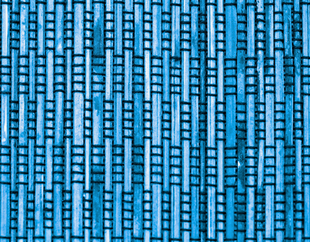 straw mat: Background of Blue Bamboo Straw Mat with Black Threads closeup Stock Photo