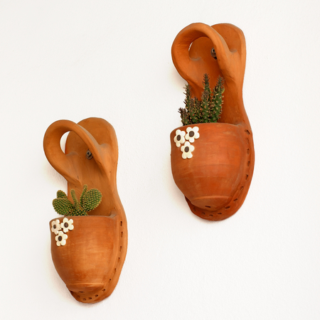 menorca: Handmade Flower Pots with Plants at Home Wall Outdoors, Menorca, Balearic Islands