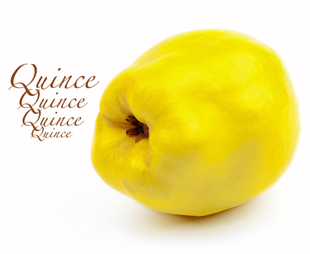 pectin: Perfect Ripe Quince with Inscription isolated on White background Stock Photo