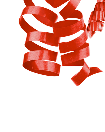party streamers: Three Red Curled Party Streamers Hanging down isolated on White background