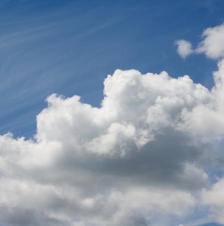 cumuli: Fluffy Big White and Grey Cloud on Blue Sunny Sky Outdoors