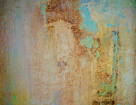 Beige et Bleu Obsolète Ciment Cracked Wall Background gros plan