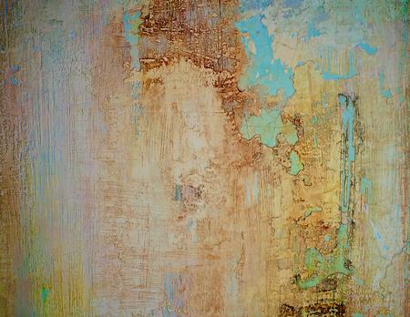 Beige y azul obsoleto cemento agrietado fondo de la pared de cerca