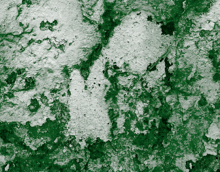 damaged cement: Dark Green and White Damaged Obsolete Cracked Cement Wall Background closeup Stock Photo