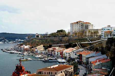 menorca: Mahon Harbor and View Central Seafront in Cloudy Summer Day, Menorca, Balearic Islands