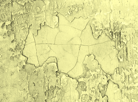 damaged cement: Grey and Yellow Damaged Obsolete Cement Wall Background closeup