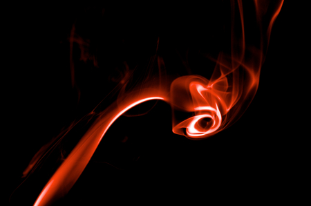 particulates: Fancy Abstract Red Smoke Figure on Black background