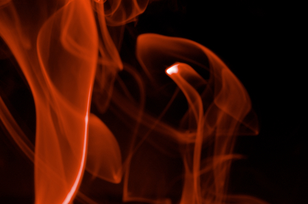 particulates: Abstract Red Smoke Figures on Black background