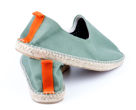 Contemporary Light Green Espadrilles with Polka Dot Lining and Orange Facing closeup on White background