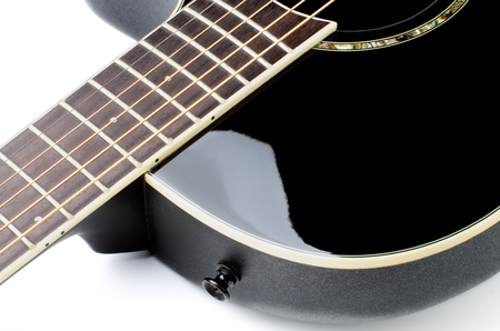 fingerboard: Fingerboard of Contemporary Black Acoustic Guitar Cross Section on White background Stock Photo