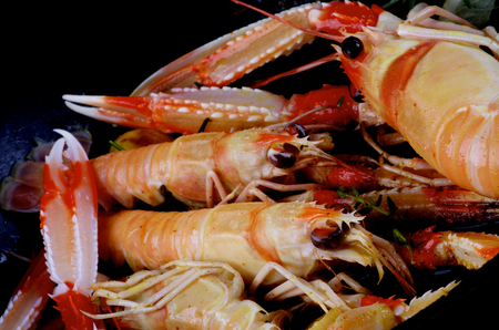Delicious Roasted Langoustines with Thyme and Rosemary closeup in Frying Pan. Focus on Animal Eyes Stock Photo