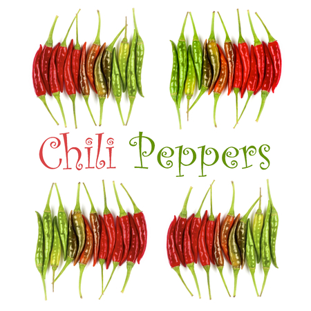 Collection of Fresh Shiny Red, Orange and Green Chili Peppers with Inscription isolated on White background