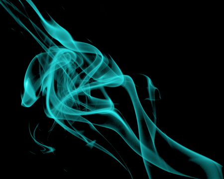 particulates: Abstract Fancy Turquoise Smoke Figures on Black background Stock Photo