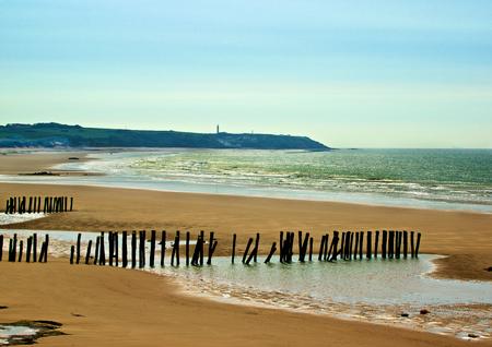 フランスのサンガット近くの木製の防波堤屋外でフランスの大西洋岸の風景 写真素材