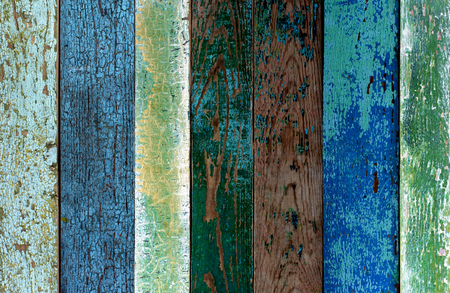 unfit: Background of Green, Blue and Grey Old Cracked Wooden Board closeup