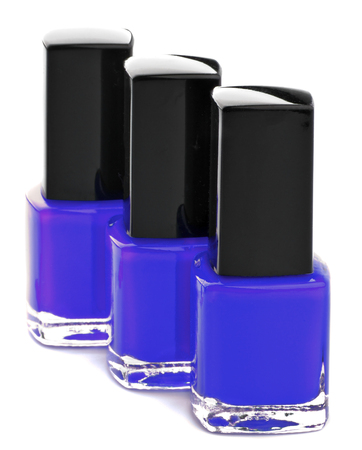 Three Shades of Purple Bright Nail Varnishes isolated on white background Stock Photo