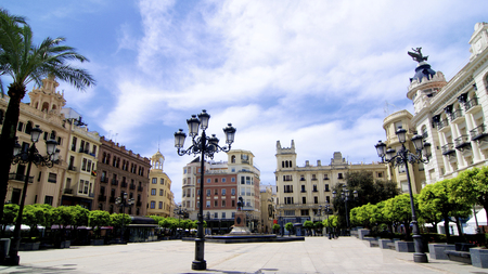 Famous Square Plaza de las Tendillas in Sunne Day Outdoors. Cordoba, Spain