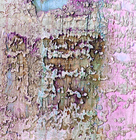 Pink and Grey Damaged Obsolete Cement Wall Background closeup 写真素材