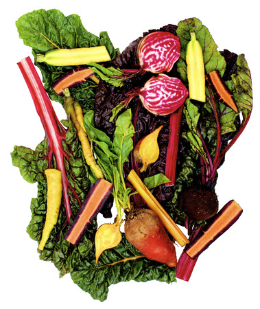 Arrangement of Colorful Beet, Carrots, Roots and Chard Leafs isolated on White background Standard-Bild - 124962727