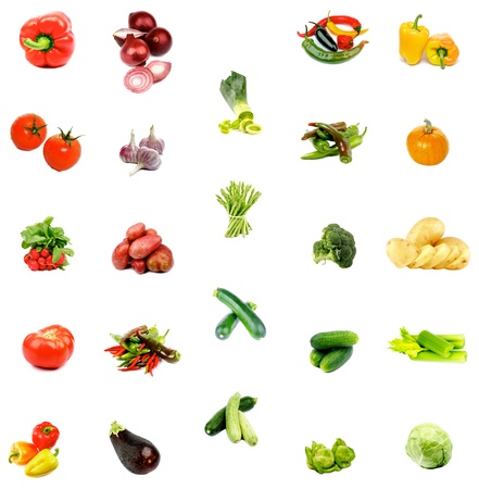 Collection of Raw Ripe Vegetables with Cabbage, Potato, Leek, Chili and Paprika Peppers, Garlic, Cucumber, Tomato, Pumpkin, Zucchini, Squash, Eggplant, Broccoli and Radishes Isolated on White background
