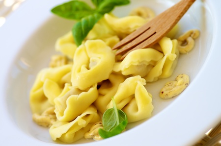 Delicious Meat Cappelletti with Mustard Sauce and Green Basil closeup in White Plate with Wooden Fork. Selective Focus Standard-Bild - 124963399