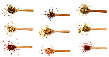 Collection of Spices in Wooden Spoons: Peppercorn, Coriander,  Dried Garlic, Pink Salt, Zira, Herbs with Paprika and Saffron isolated on White background