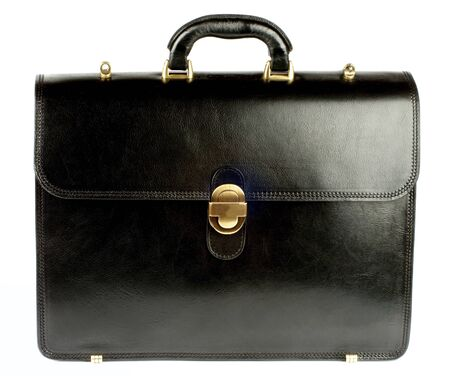 Elegant Black Leather Briefcase with Golden Details isolated on White background